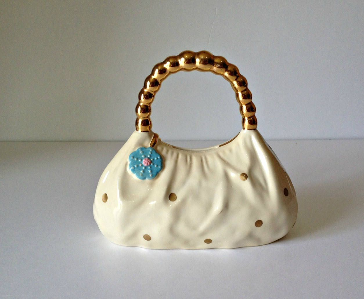 Purse Coin Bank Porcelain Handbag Retro Money Saving Piggy