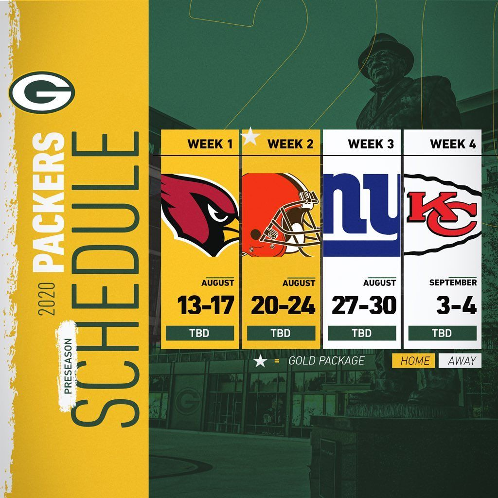 Green Bay Packers On Instagram The Packers 2020 Preseason Opponents Are Also Set Gopackgo Nfl Schedule In 2020 Green Bay Packers Green Bay Packers Schedule