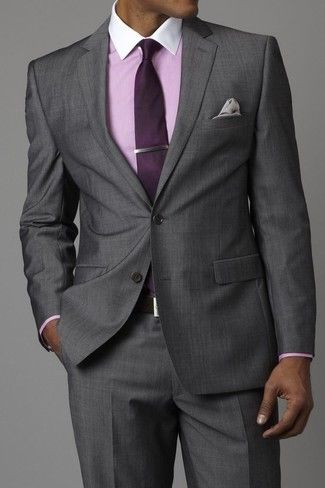 Men's Grey Suit, Pink Dress Shirt, Dark Purple Tie, Grey Pocket ...