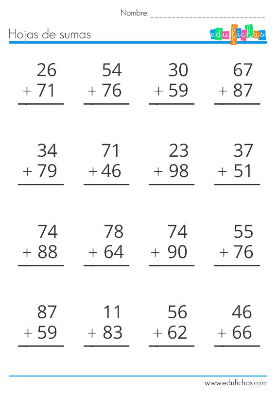 Resultado de imagen para suma reagrupando de dos.digitos segundo ...