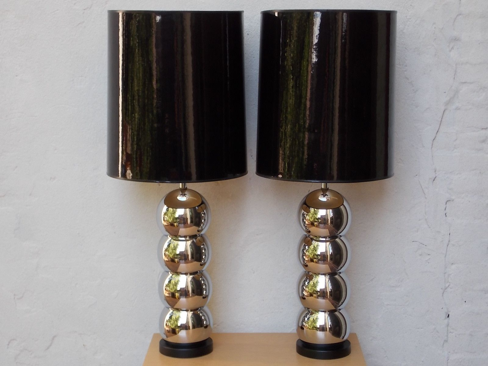 Pair Chrome Ball Lamps with Original Black Shades in Mint Condition