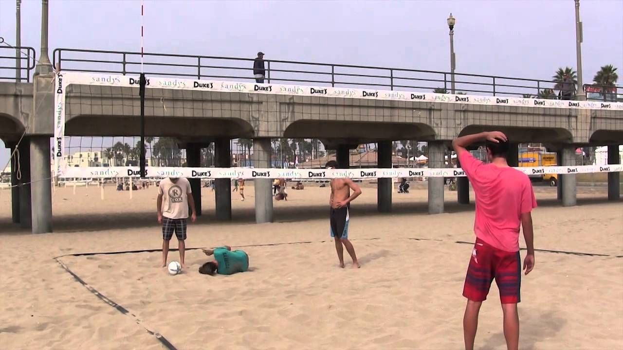 Hard volleyball spike to the privates volleyball
