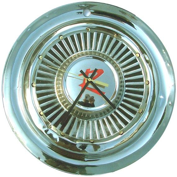 Hubcap Clock Rambler 60s With Dots For Numbering V 11 14 Hub Cap Clock Retro Wall Clock Vintage Wall Clock