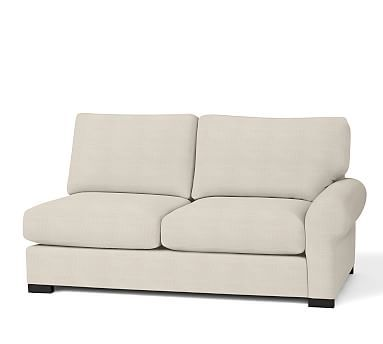 Turner Roll Arm Upholstered Right Arm Love Seat, Down Blend Wrapped Cushions, Sunbrella(R) Performance Sahara Weave Ivory