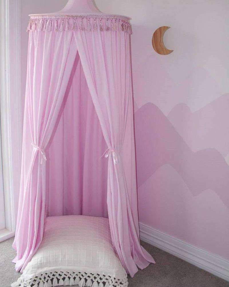 Tassel Decoration Round Dome Princess Bed Canopy Pink Princess Canopy Bed Kids Canopy Bed Tent