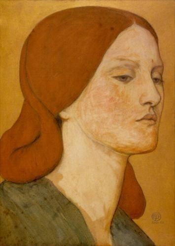 Portrait of Elizabeth Siddal - A watercolor portrait by Rossetti. 'One face looks out from all his canvases', wrote his sister, Christina. 'Fair as the moon and joyful as the light...Not as she is but as she fills his dream.'
