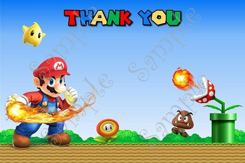 Super Mario Birthday Party Invitation Free Thank You Card Super