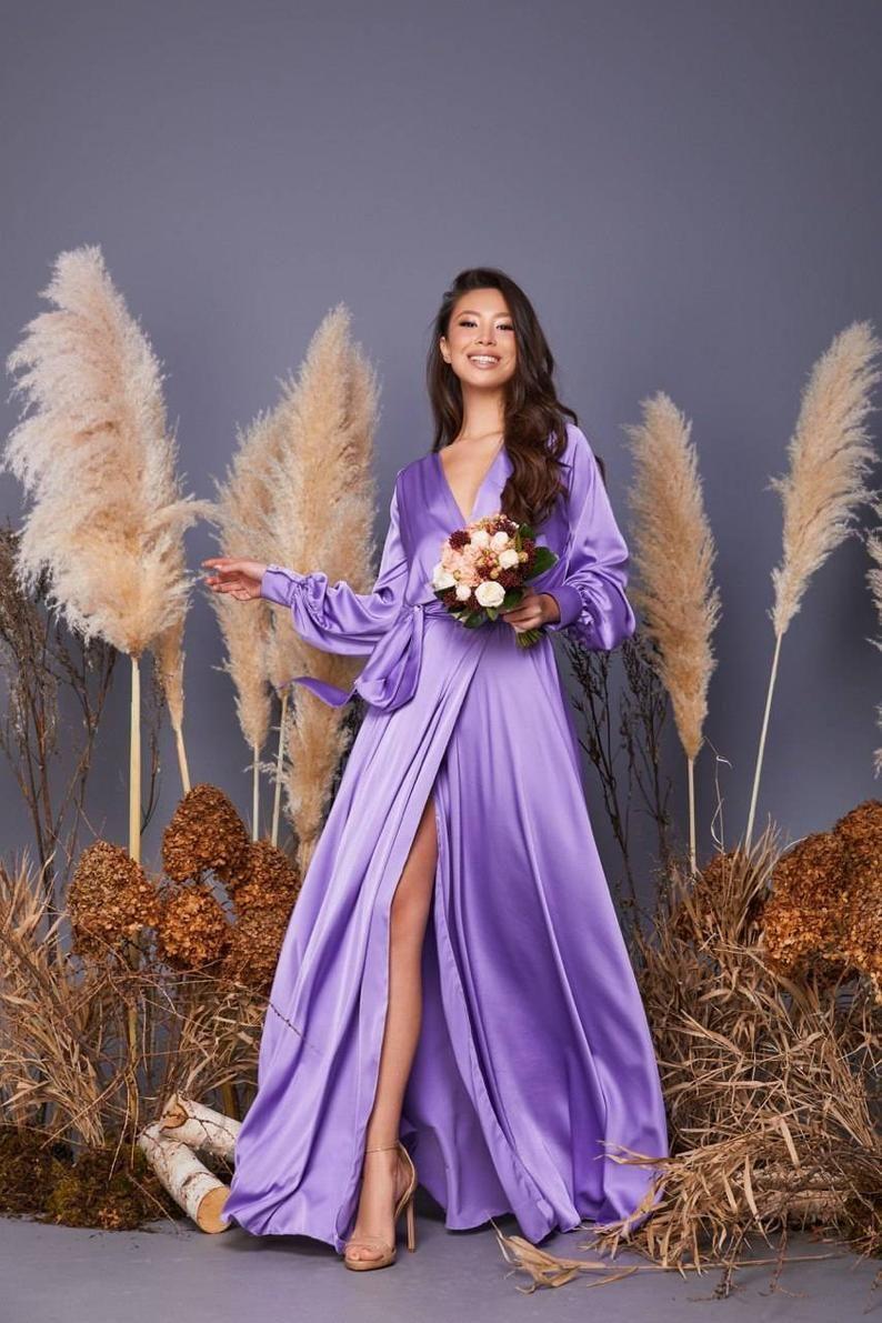 Lavender silk wrap dress midi wedding guest dress