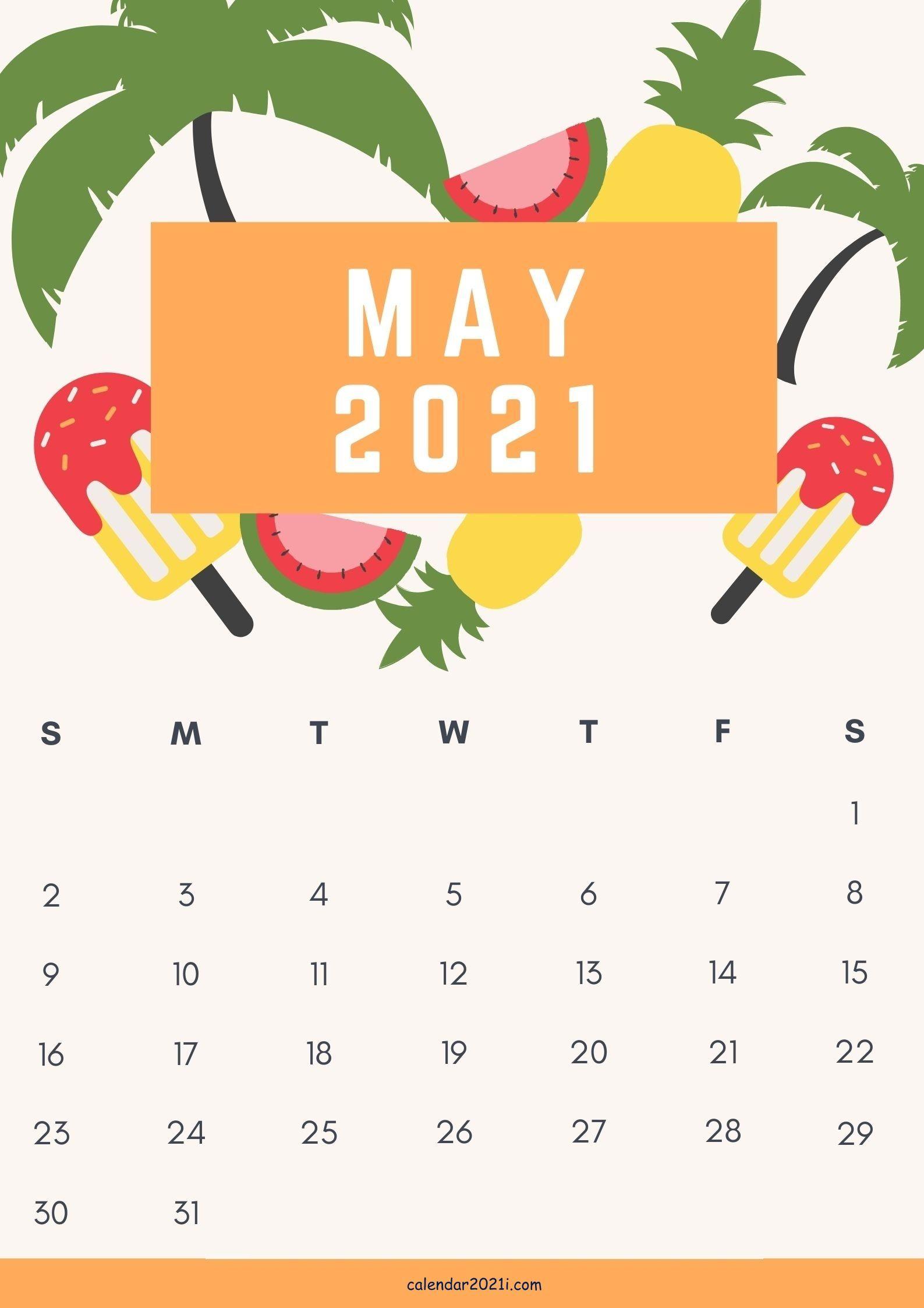 Cute May 2021 Calendar design template free download in ...