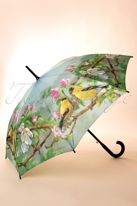 60s Gold Birdie Love Umbrella