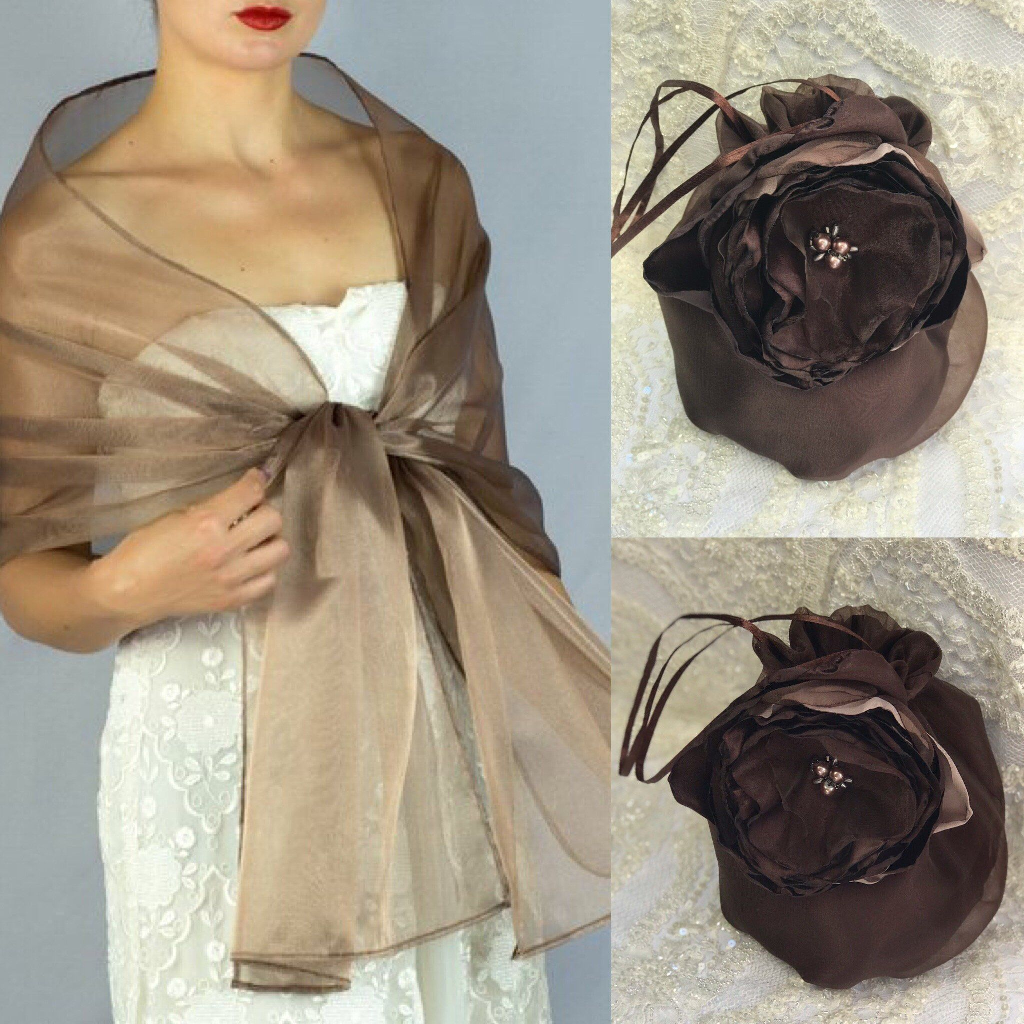 cb32f84e999b Excited to share this item from my #etsy shop: Brown Bronze Organza shawl  wrap shrug and bag evening dress wedding dress bridesmaids 200 x 42 cm  brown ...
