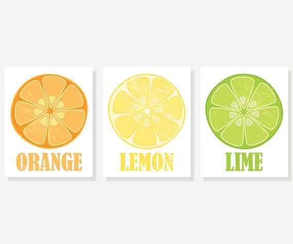 Kitchen Art Orange Lemon Lime 3 Vintage Style Citrus Prints Ilration Wall Decor
