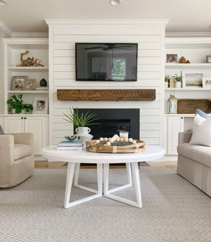 Coastal Living Room Refresh With Serena Lily Featuring The Downing Round Coffee Table Living Room With Fireplace Living Room Coffee Table Fireplace Built Ins [ 1024 x 894 Pixel ]