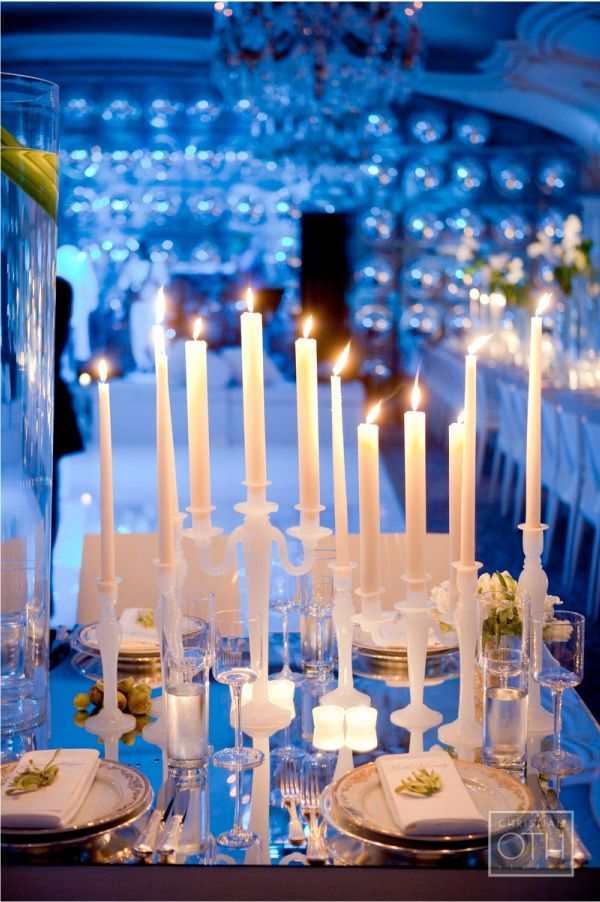 classic tapered candles streamline this lovely tablescape.