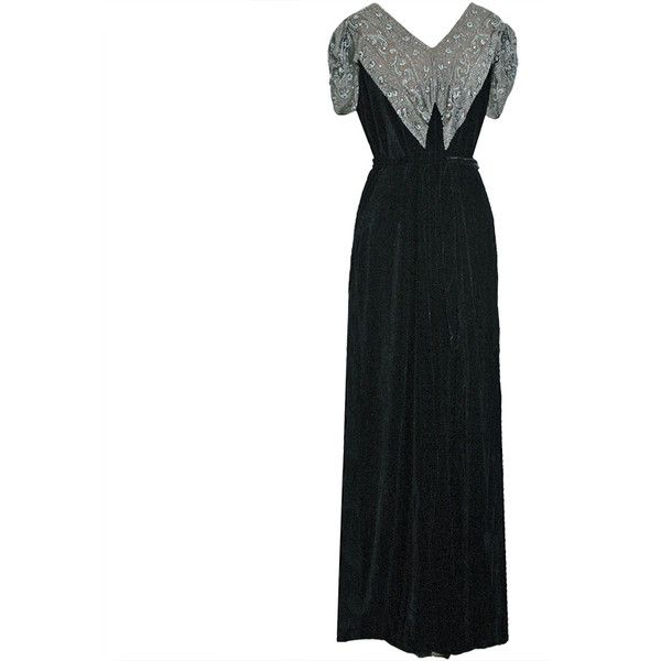 Pre-owned 1930\'s Beaded Rhinestone Black Silk-Velvet Deco Bias-Cut ...