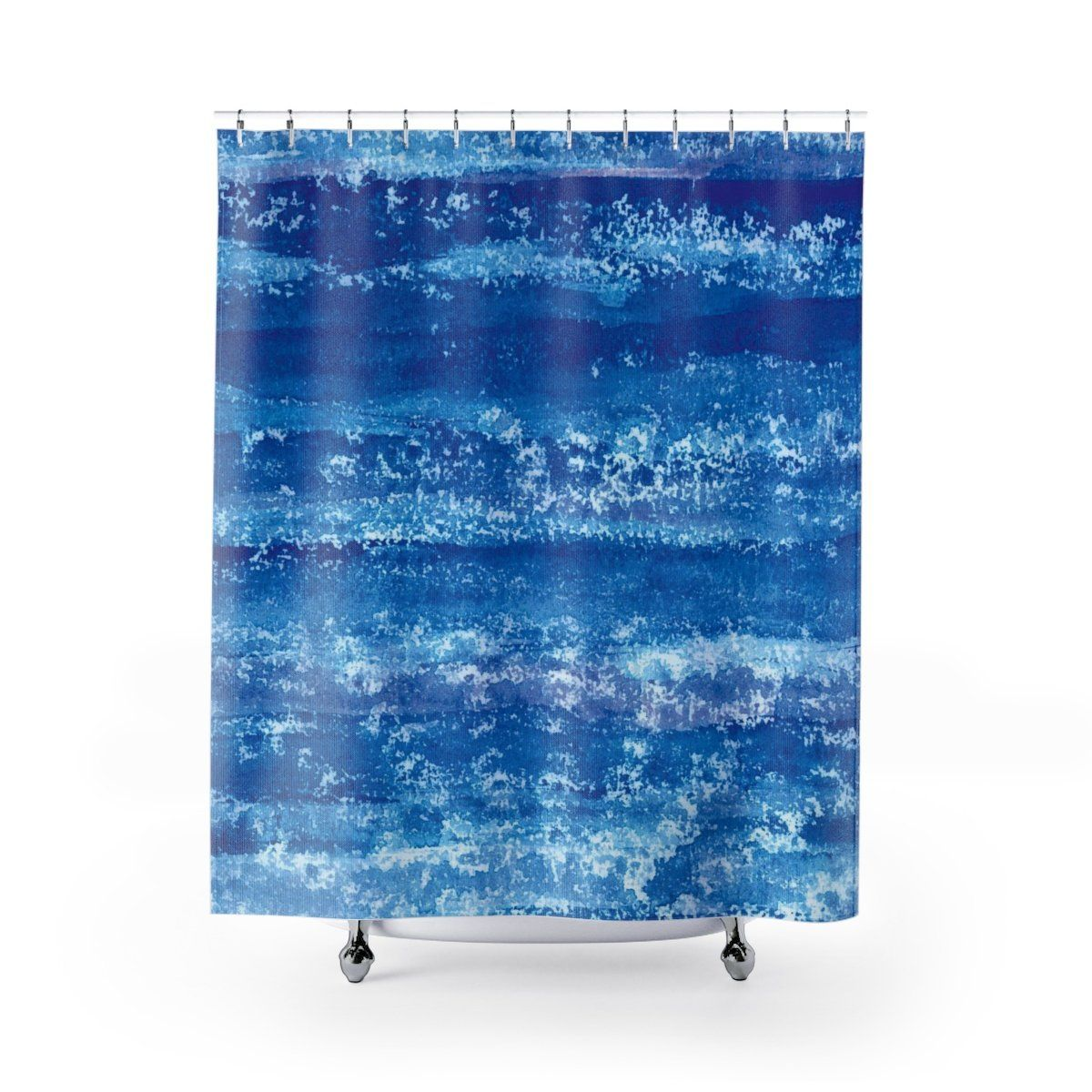 Deep Blue Watercolor With Lace Mandala Shell Print Shower Curtain