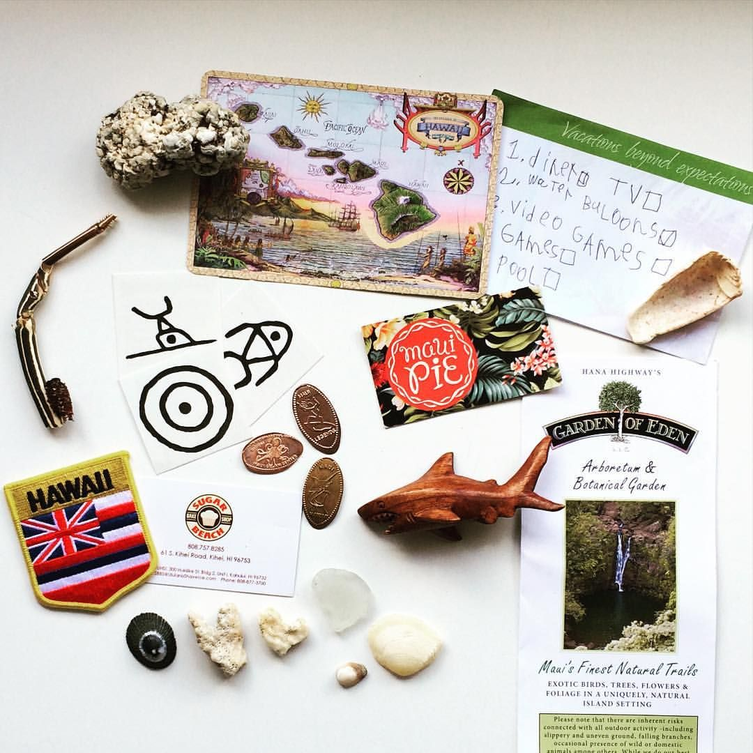 Vacation finds: patches, postcards, flattened pennies, and nature finds.