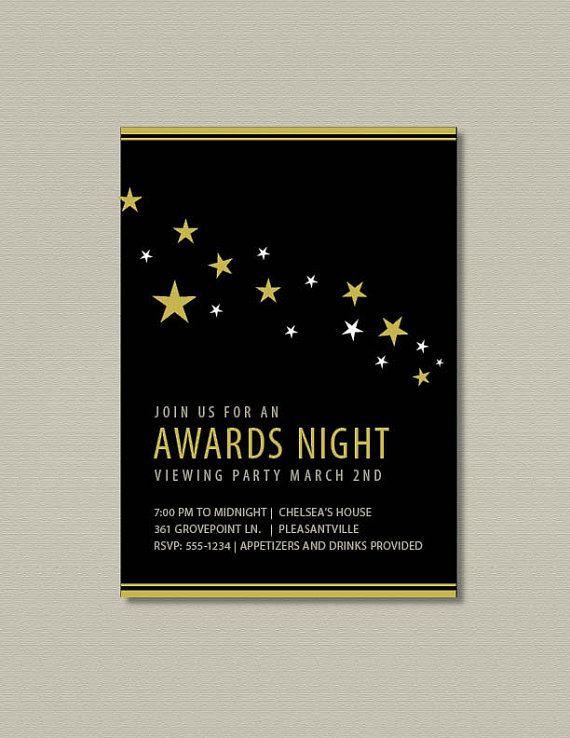 2016 oscar party printable invitation stars lights camera auction