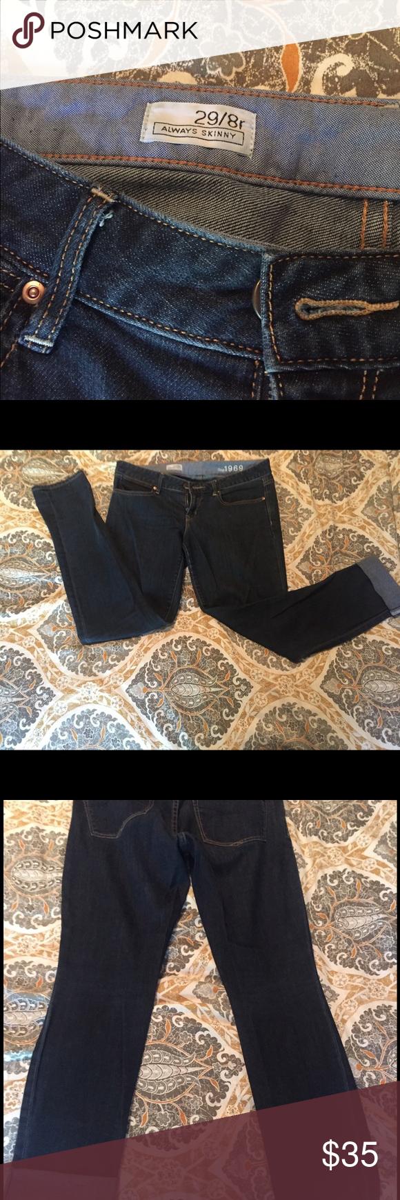 Gap Always Skinny Jeans Great, comfortable, clean skinny cut jeans. No rips tears or holes. GAP Jeans Skinny