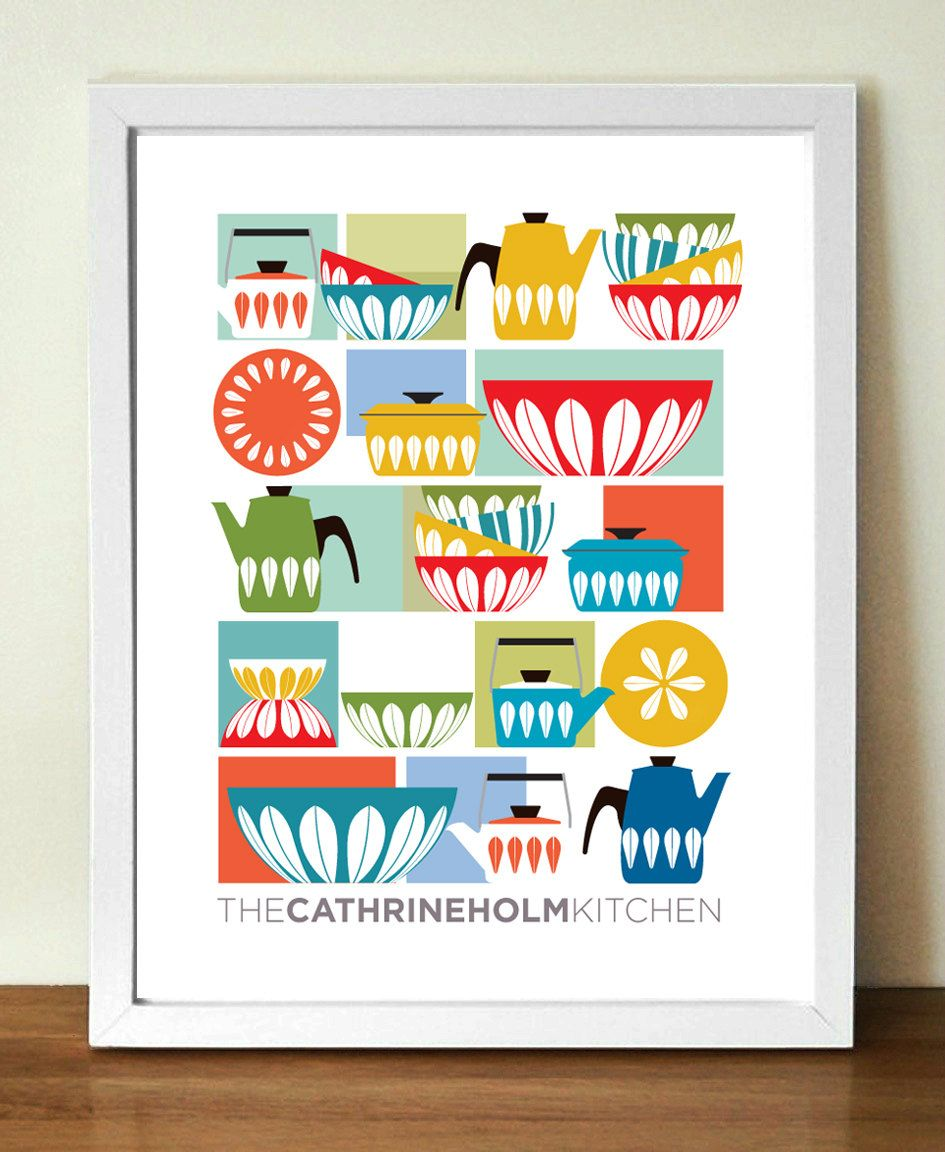 Attractive Retro Cathrine Holm Kitchen Art Featuring Her Classic Mid Century Enamel  Ware. Digital Print On Heavyweight Matte Cartridge Paper, Using  High Quality Inks ...