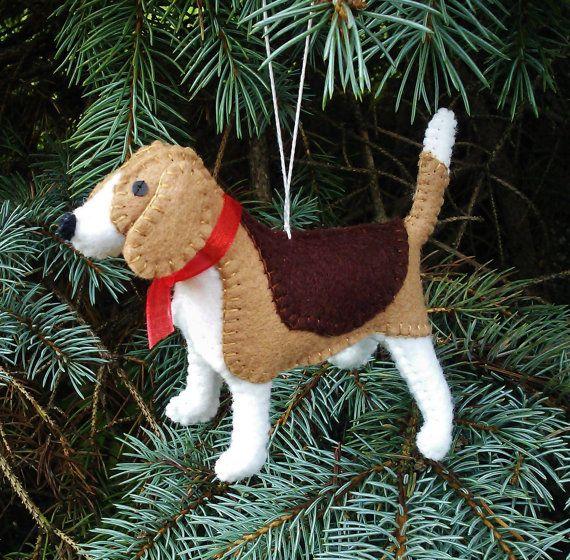 Beagle Christmas Tree Ornament, Dog Ornament, Wool Felt Beagle, Beagle Decoration, Beagle Ornament