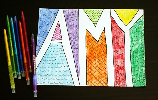 Get Colorful With Doodle Names Make And Takes Elementary Art Name Drawings Homeschool Art