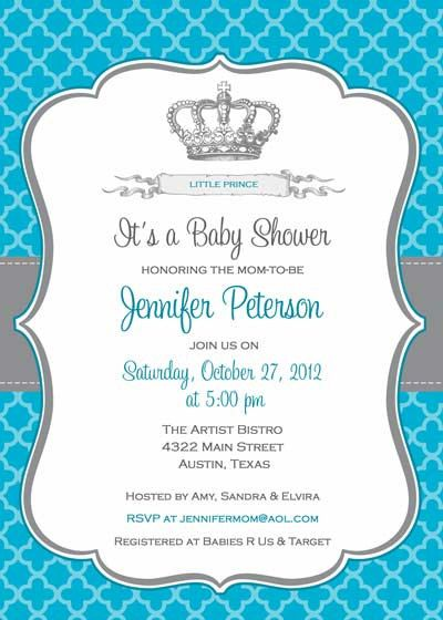 Baby Shower Invitation - Prince Crown for Boy- DIY Printable - Free Baby Invitation Templates