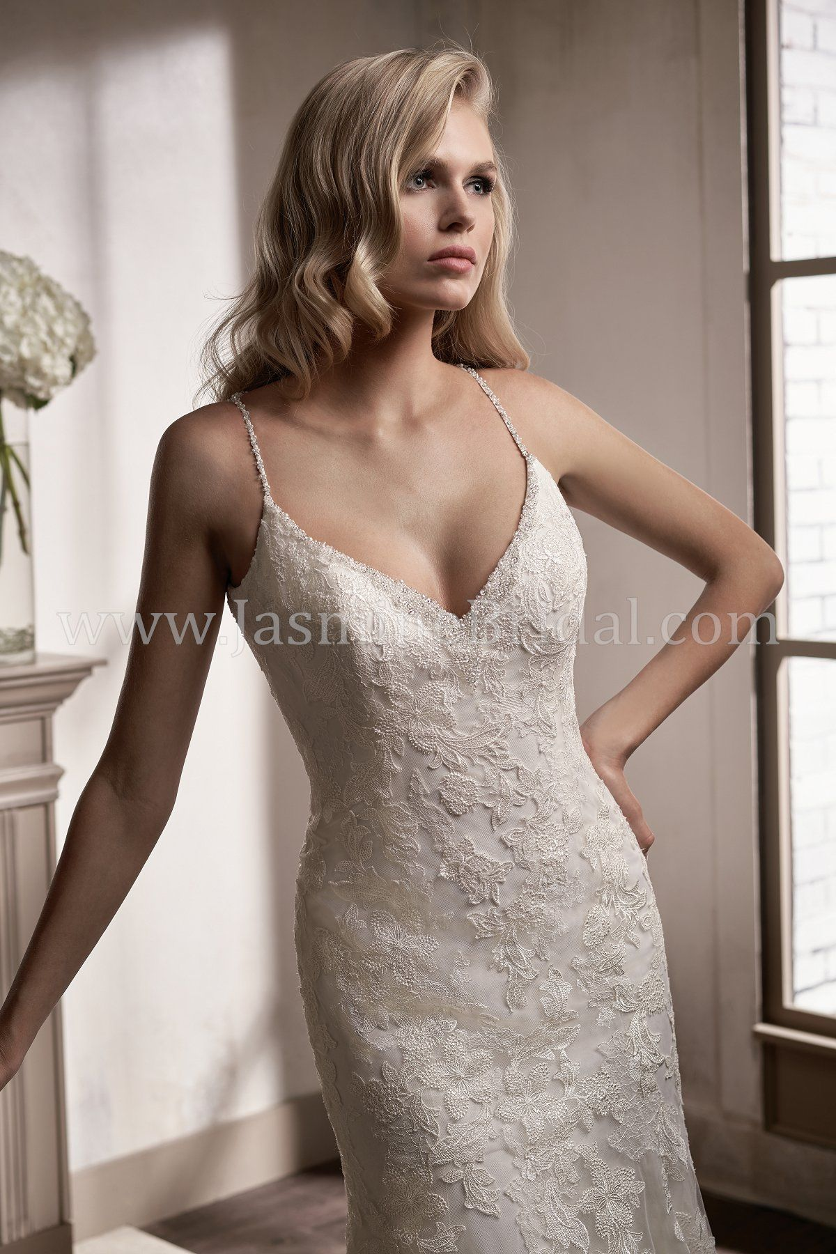 Jasmine bridal couture style t in chantilly lace embroidery
