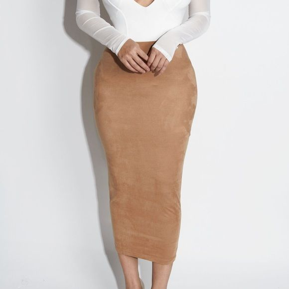 Tan suede midi skirt Boutique | Tags, Midi skirts and Tube skirt
