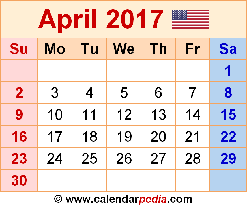 April 2017 Calendar As A Graphicimage File In Png Format