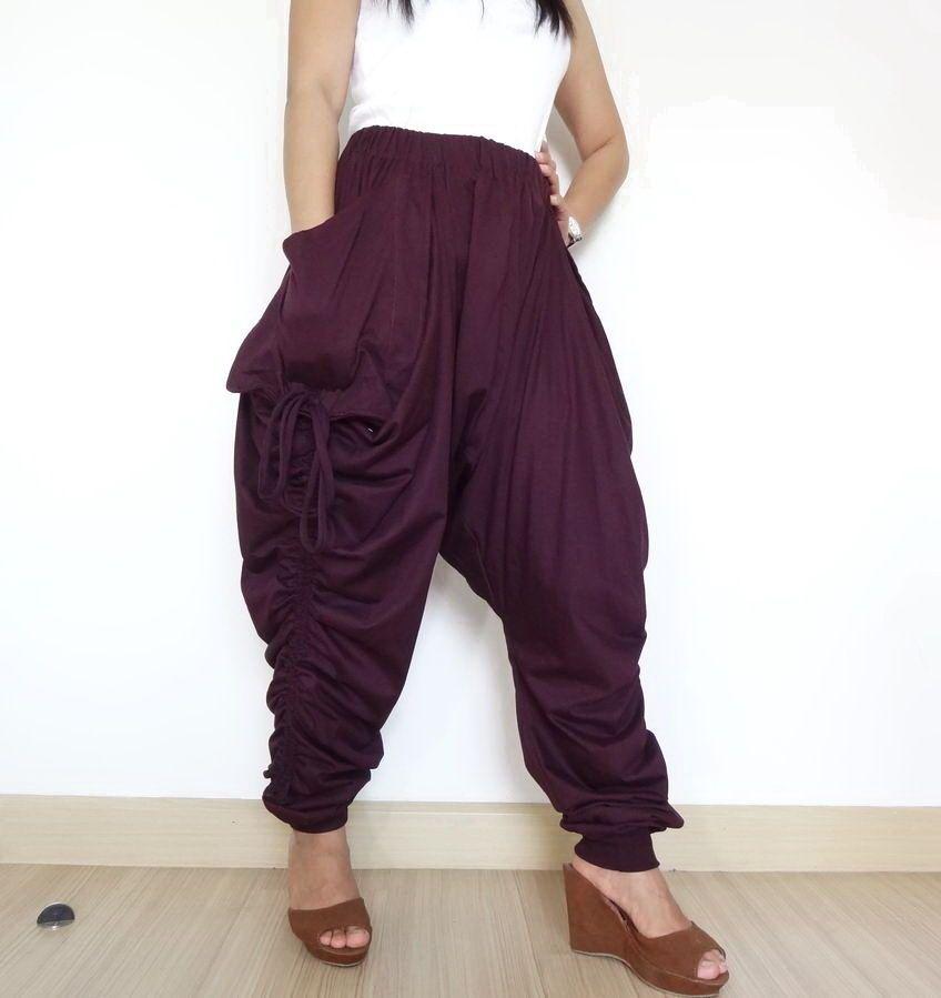 Burgundy Unisex Drop Crotch Pant, Ninja Harem Trousers in Cotton Jersey. #tribalfashion #CasualPants