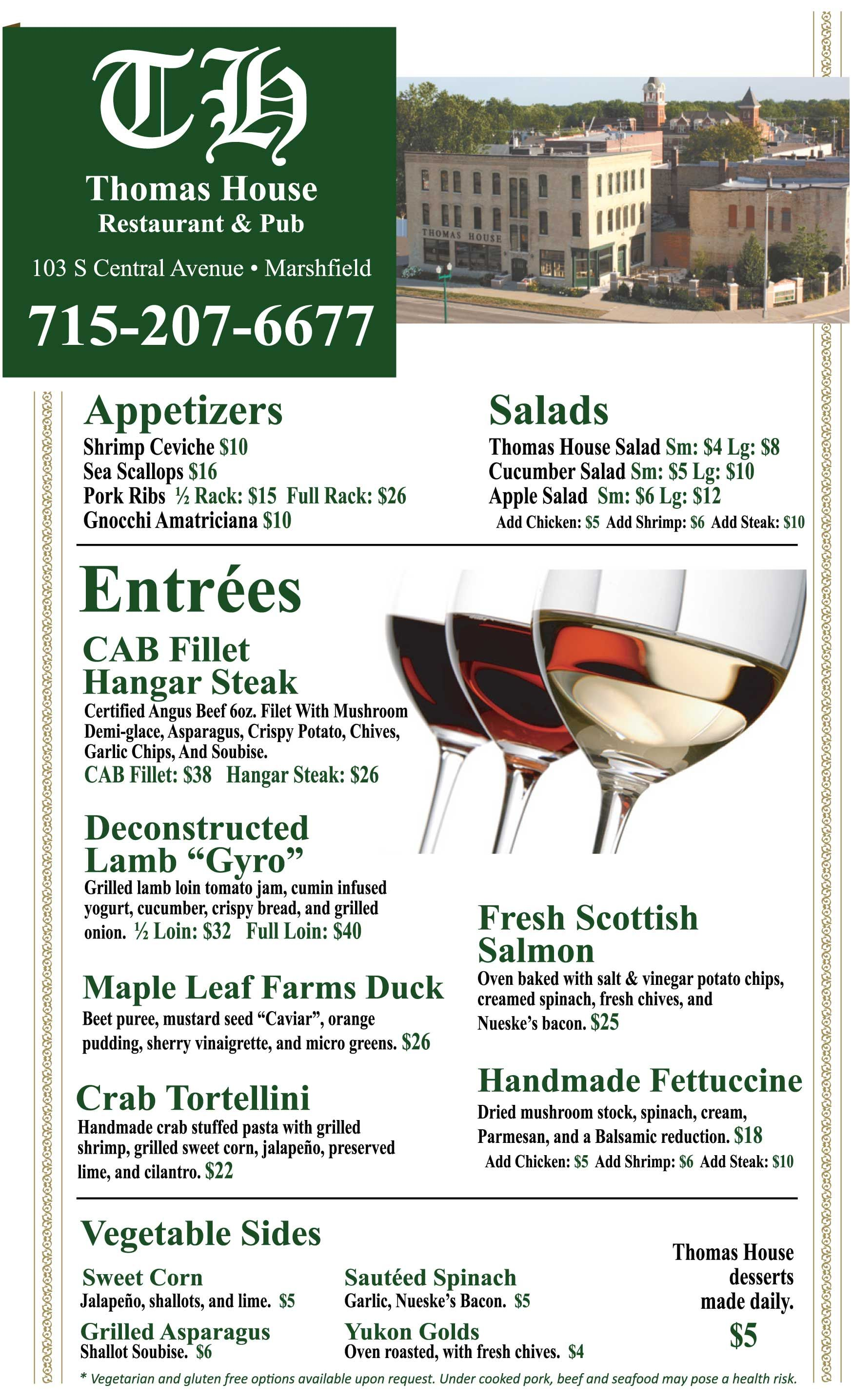 Thomas House Restaurant Pub Restaurant Menu Marshfield Wi 2015