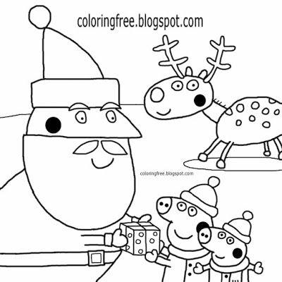Charming red nose reindeer with Santa Claus cartoon Peppa pig ...
