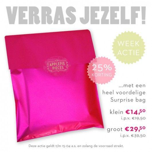 Verras jezelf deze week met 25% korting #woohoo #weekactie #applepiepieces #surprisebags