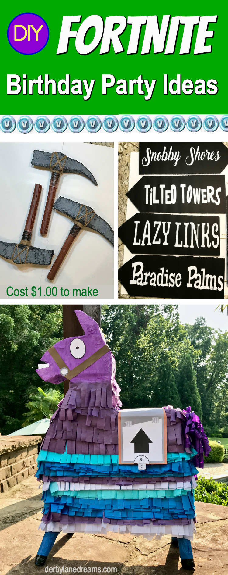 Fortnite Birthday Party Ideas and DIY Decorations for Cheap!  Make this their best party ever!  They will totally LOVE you for this one! #Fortnite #partyplanning #DIY #DIYpartyideas #boybirthdayparty #DIYDecor #ideas #decorations #Nerfwars, #outdoors #outdoorparty #poolparty #cheap #budget #birthday #blog #blogger #kids #forkids #forboys #party #partydecorations