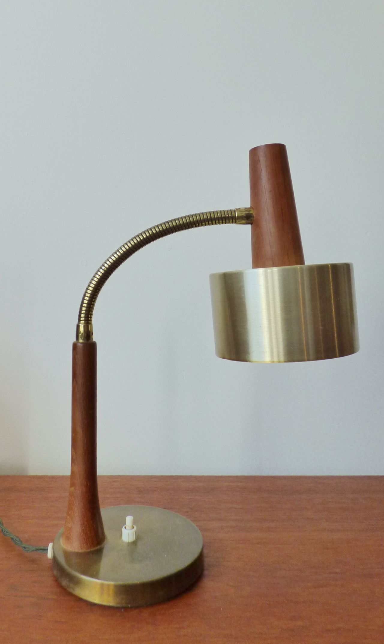 Mid Century Danish Teak And Brass Desk Lamp Desk Lamp Brass Desk Lamp Lamp