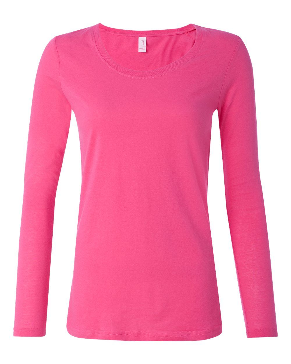 Anvil Hot Pink Ladies Semi Sheer Long Sleeve Scoopneck T