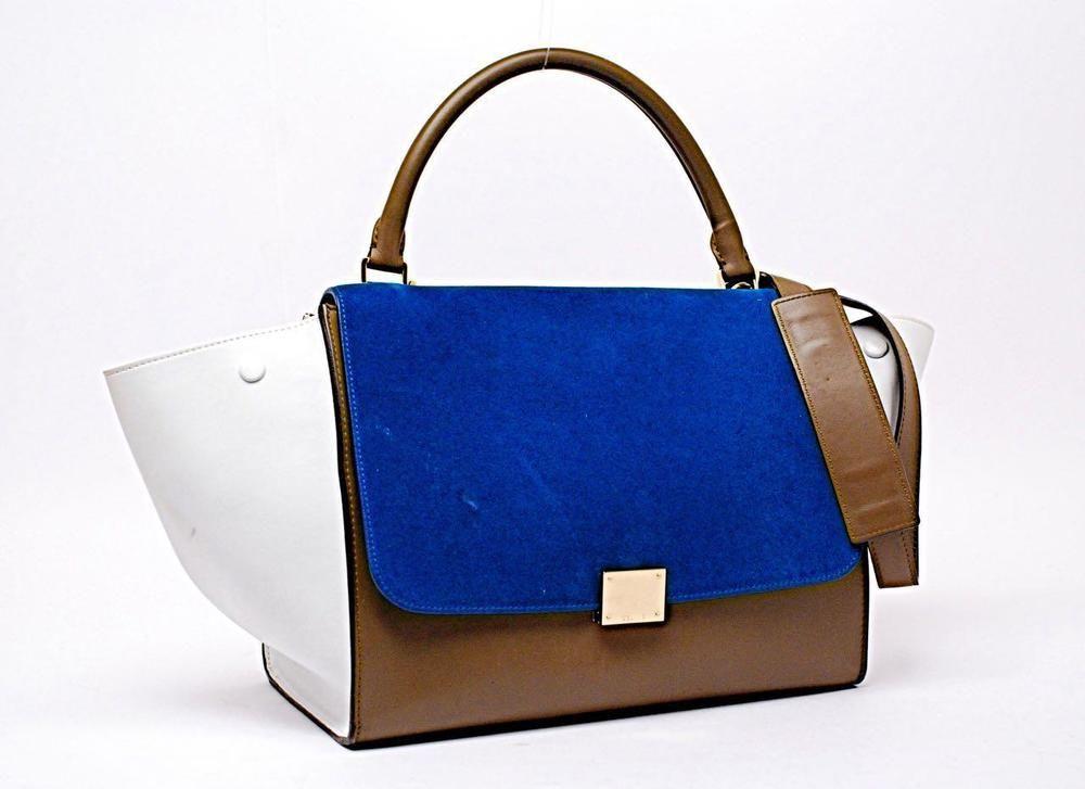 daa44d70f Celine Trapeze Tri Color+White+Brown Leather+Blue Suede Shoulder Bag 12x9 # Celine #TriColor
