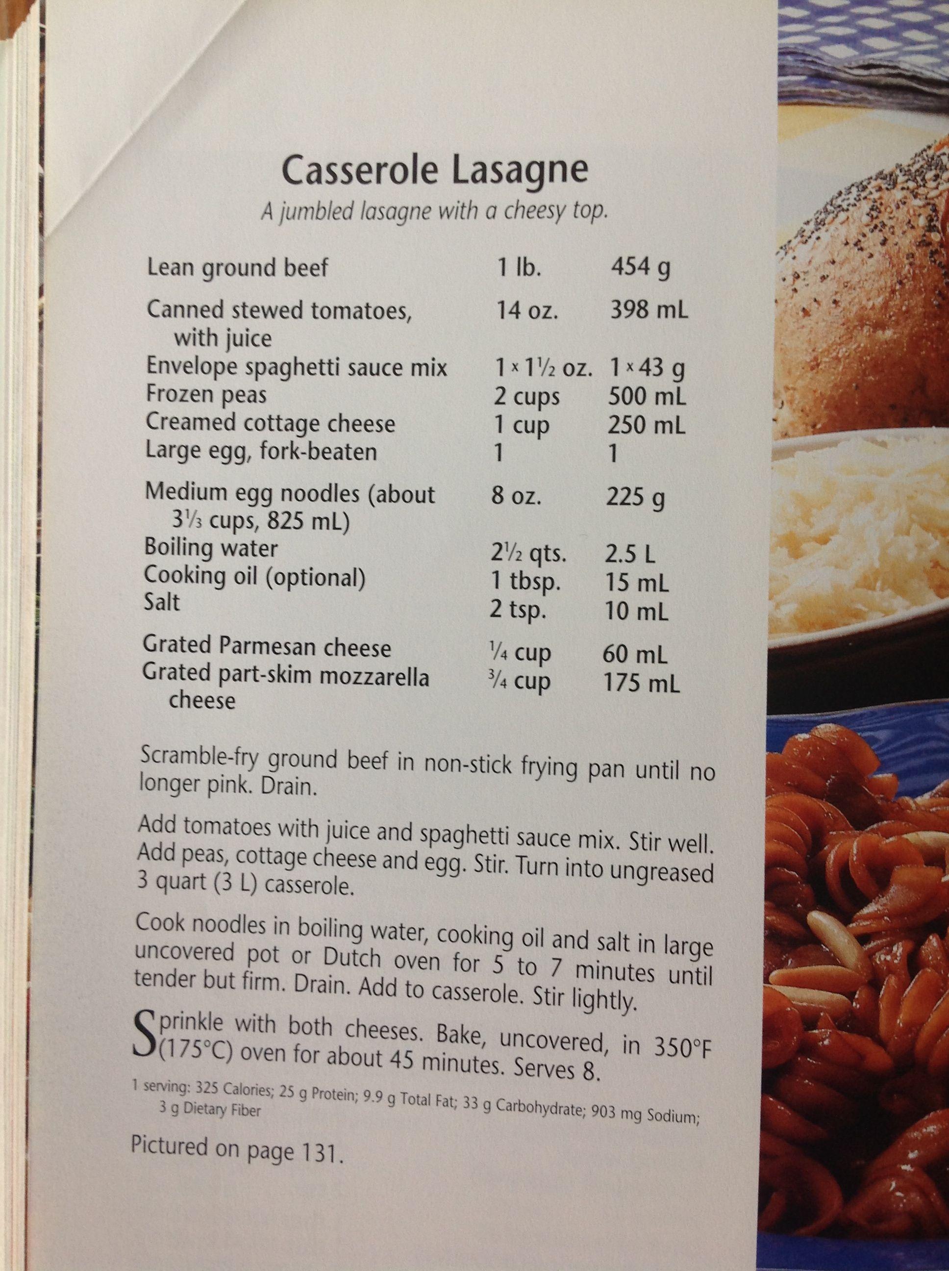 Casserole Lasagna recipe from Company\'s Coming Millennium Cookbook ...