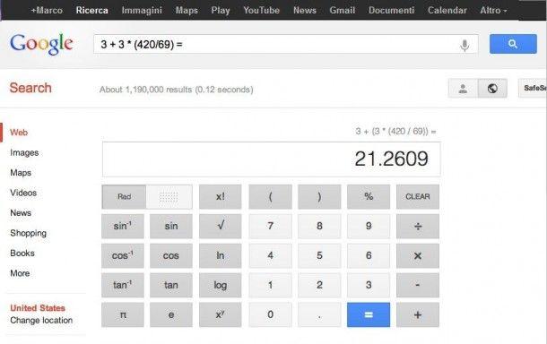 Cercando Su Google Calcolatrice O Scrivendo Un Operazione Matematica Il Motore Di Ricerca Come Primo Risultato Mostra Una Cal Matematica Calcolatrice Ricerca
