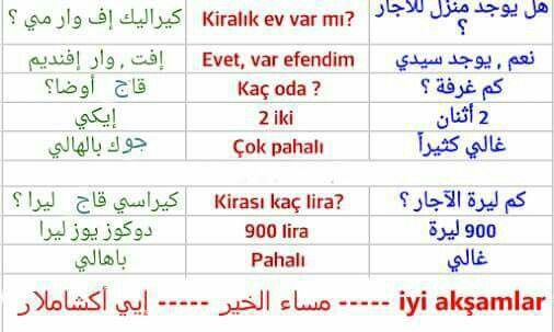محادثة عن بيت للايجار باللغة التركية Arapca Dili Dil Turkce