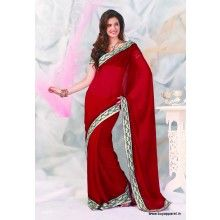 Designer Red Color Saree with Attractive work border at unbeatable price. FLAT 30 PERCENT OFF - $43.40