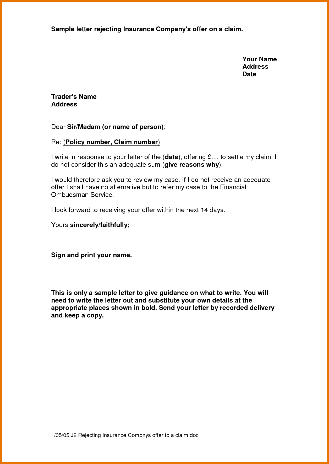 Claim Letter Sample Itinerary Template Environment Complaint Free