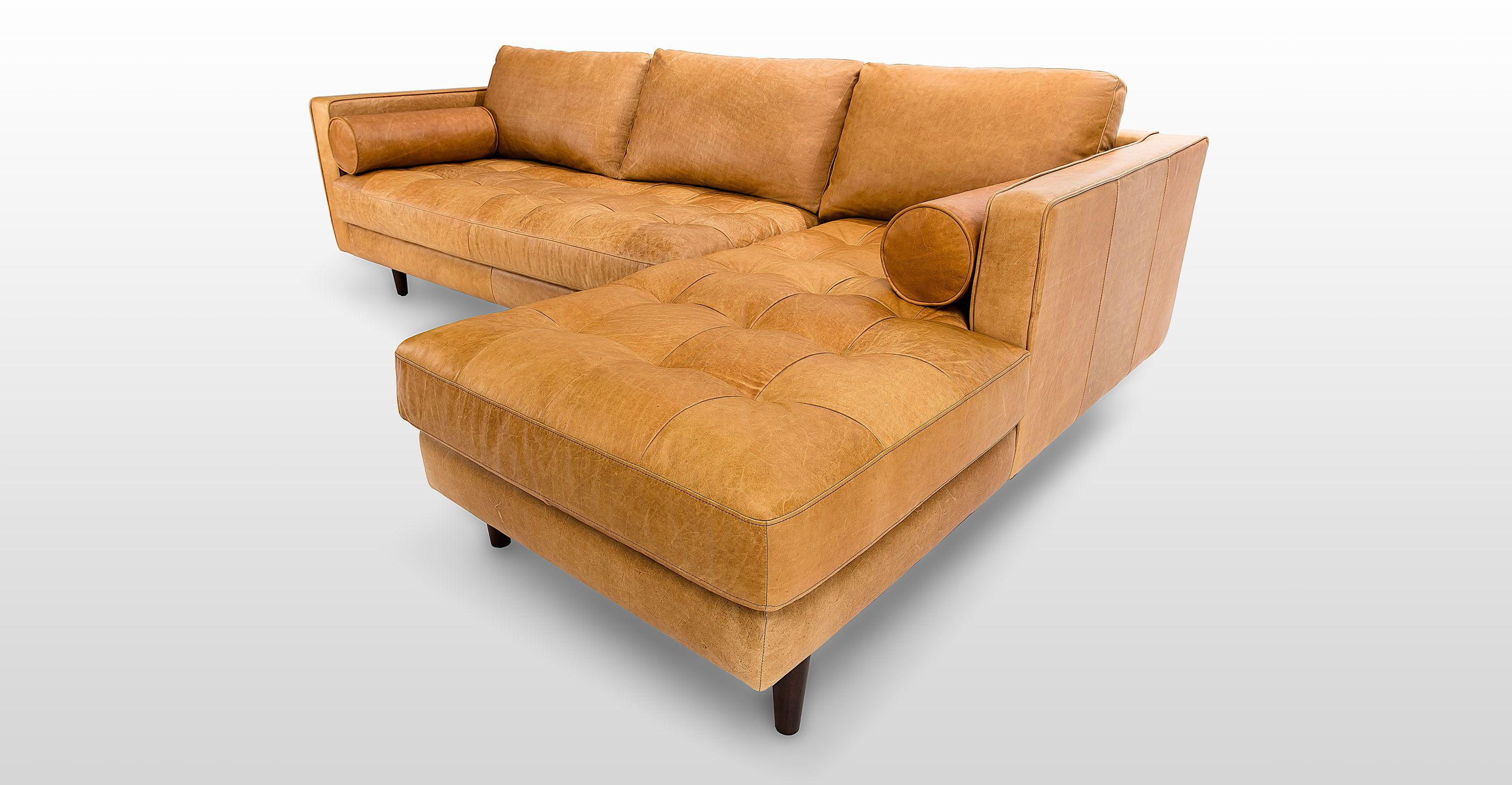 Tan Brown Leather Sectional Upholstered
