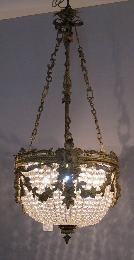 Bronze And Crystal Empire Style Chandelier W Graduated Beaded Basket