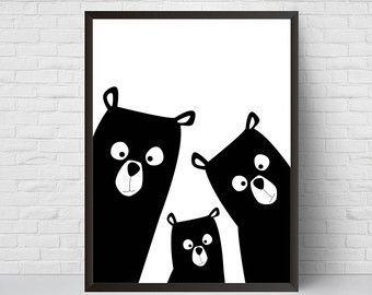 Ähnliche Artikel wie Bär Familie Kindergarten Druck, Bär Kunst Poster, schwarz und weiß moderne Kinder zimmer Dekor, große Druck, minimalistische Poster, Wald, Baby-Dusche auf Etsy