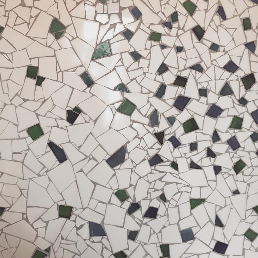 Beautiful Chipped Tile Mosaic In The Bathroom Of Luxury