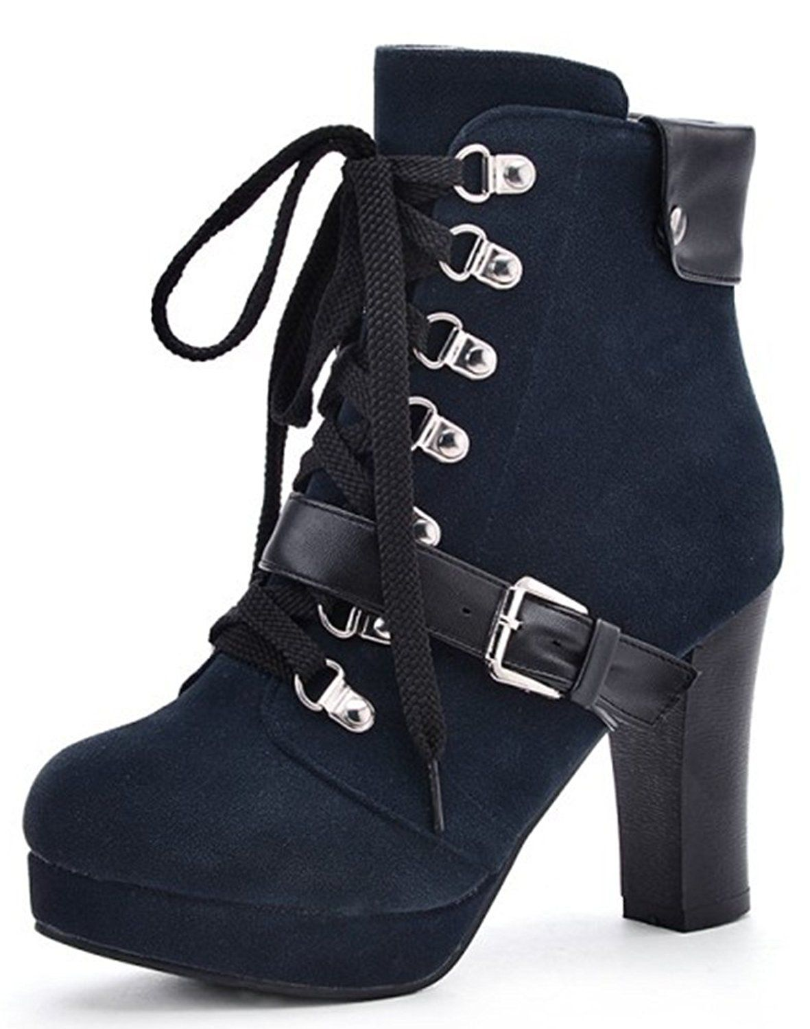 Women's Fashion Lace Up HIgh Chunky Heel Short Ankle Booties With Zipper