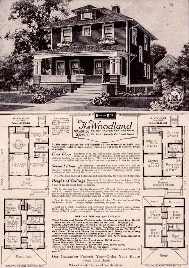 The Woodland By Sears Modern Homes 1923 Foursquare Kit House Vintage House Plans Kit Homes House In The Woods