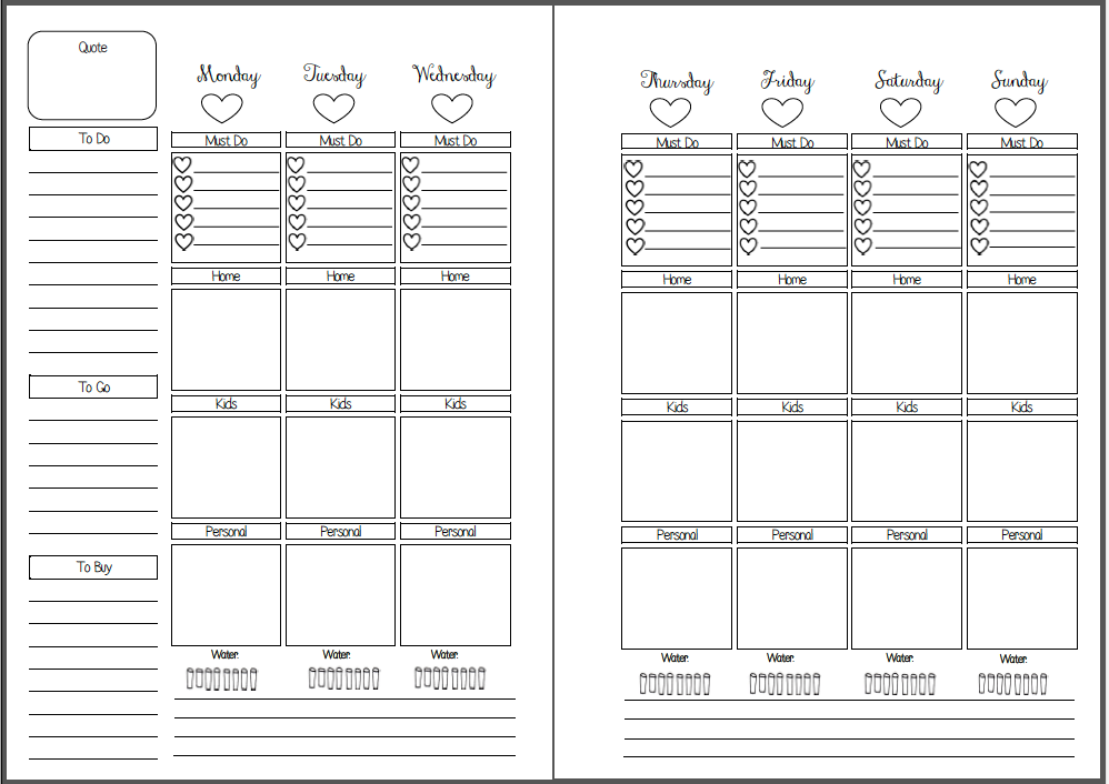 Weekly Vertical Calendar Template : Week on two pages vertical box style inserts planners